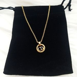 Christian Dior Vintage CD gold plated necklace